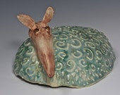 Unique Ceramic Armadillo Textured Rattle Head Green Spirit Rattle