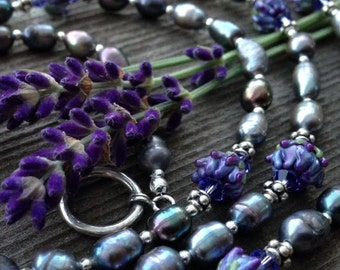 """Lavender Pearl and Glass Bud Whorl Long Necklace 40"""" Length"""