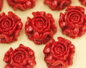 6 Deep Red Flower Cabochons Flat Back 15mm