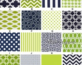 Custom for Whitney Ragan Navy & Lime Chevron Dots Stripes MOD Boutique Crib Bedding Rail Covers Crib Skirt and Curtain Panel