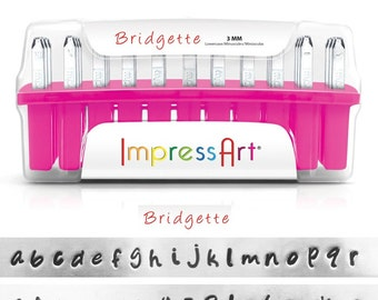 BRIDGETTE LOWERCASE - handwriting like font - steel letter and 7 BONUS stamps  - 1/8 inch (3mm) size - how to stamp tutorial