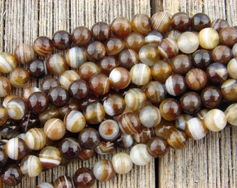 6mm Striped Agate beads, Brown Banded Agate Beads, Smooth Round 6 mm Beads, Banded Agate Rustic -Earthy Dark Brown -