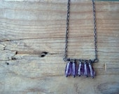Amethyst Stack Necklace. Sterling Silver February Birthstone Minimalist Modern Metalwork Gemstone Jewelry Statement Necklace
