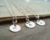 Silver Small Personalized Initial Charm Necklace - Quantity of Three - Bridesmaid Set, Custom Initial Disc, Monogram, Weddings, Bridal