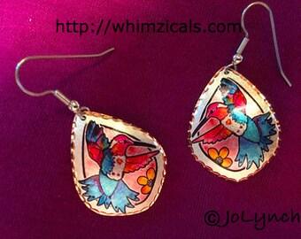 Hummingbird Copper Earrings