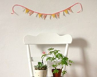 Banner Pink Floral Stripe Cotton Banner Bunting Party Wedding Mothers Day Spring Decor Home Decor Gift