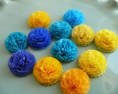 Button Mums 1 inch Tissue Paper Flowers Wedding, Bridal Shower, Baby Shower Decor Yellow And Blue
