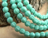 Turquoise Czech Glass Melon Beads Opaque Green 5mm (50)