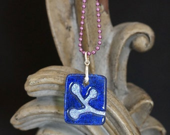 Berries Indigo Carved Dichroic Glass Pendant - FREE SHIPPING!