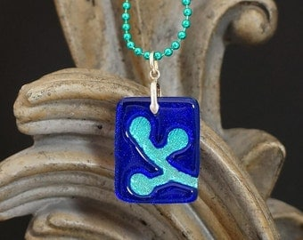 Berries Cobalt Blue Carved Dichroic Glass Pendant - FREE SHIPPING!