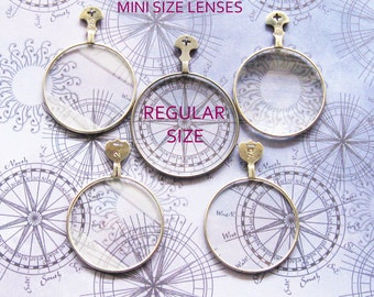 Mini Optical Lens Lot 4 Antique Pendant Findings for Steampunk Jewelry Collage Altered Art Doll Embellishment Assemblage Supplies