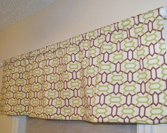 Trellis Window Valance Free Spirit MARQUIS by Joel Dewberry Trellis Pattern in the Sepia Chocolate Brown and Citrine Lime Green Colorway