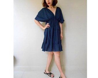 Custom Made Dark Blue Cotton V- neck Short Boho Ruffle Tunic Dress one fit all most S-L ( H )