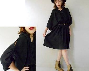 Custom Made My simply Black Soft Cotton Short Loose Tunic Dress one fit all most (H)