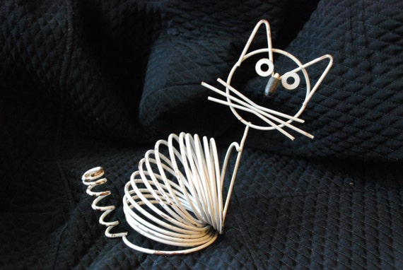 Vintage Richard Galef Ravenware Mid Century Wire Cat Figurine Letter Rack Holder 1950's Original