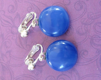 Dangle Clip On Earrings, Cobalt Blue Dangle Clip Earring, Ready to Ship, Fused Glass Jewelry - Poole - 2326 -4