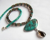 Natural Turquoise faceted Smoky Quartz Necklace Sterling Silver Drop Pendant Blue Green Brown Healing stones Boho Style Rustic Tribal Unique