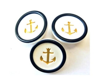 6 Plastic and metal buttons gold color anchor, white and blue circle 28mm