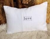 White linen love letter pillow