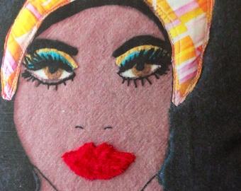 afro girl off-center  face portrait mod home art pillow cover