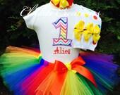 Baby Girl 1st Birthday Outfit - Rainbow Tutu - Cake Smash Photo Prop