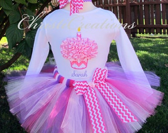 Baby Girl 1st Birthday Tutu Set--Birthday Party Outfit--Hot Pink Chevron--3D Cupcake--Personalized