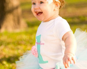 first birthday outfit girl - baby girl 1st birthday tutu - auqa and pink cake smash outfit - 1st birthday girl outfit