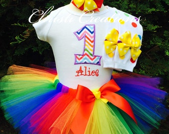 Baby Girl Birthday Tutu Outfit - Rainbow Tutu - First Birthday Tutu Dress - Cake Smash Outfit