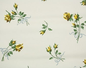 1930s Vintage Wallpaper by the Yard - Floral Wallpaper with Yellow Rosebuds and Blue Bows on White