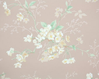 1920's Vintage Wallpaper - Antique Floral Wallpaper Pale Yellow Flowers on Pink