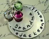 Personalized Grandma Necklace Mommy Nana Nona Handstamped Jewelry Family Sterling Stackers  2 Discs  With BIRTHSTONES