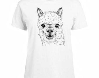 Ladies T-shirt Alpaca Art Sizes XS-2X