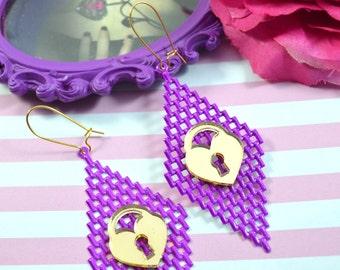 PURPLE PADLOCKS - Gold or Silver Mesh Charm Earrings