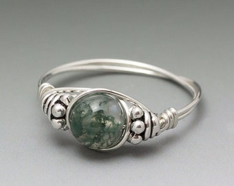 Moss Agate Bali Sterling Silver Wire Wrapped Bead Ring - Made to Order, Ships Fast!
