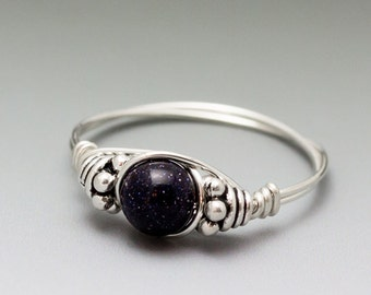Blue Goldstone Bali Sterling Silver Wire Wrapped Bead Ring - Made to Order, Ships Fast!