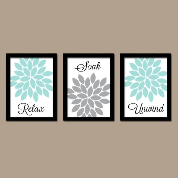 bathroom decor aqua gray bathroom wall art canvas or by trmdesign