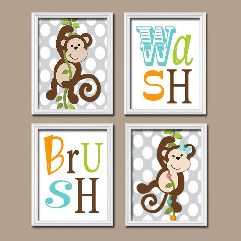 Monkey bathroom wall art canvas or prints boy girl by for Monkey bathroom ideas