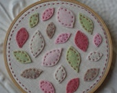 Embroidered Hoop Art - Dogwood Petals - Felt Leaves and Petals on Linen in Rose, Pink, and Cream