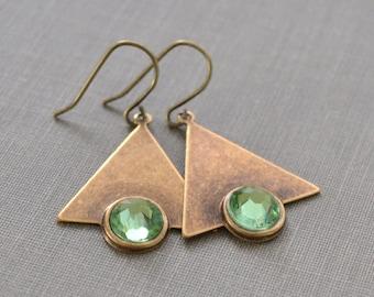 Brass Triangle Peridot Rhinestone Earrings, Geometric, Art Deco Brass Triangle, Green Rhinestone Earrings, French Wire, Lapin du Printemps