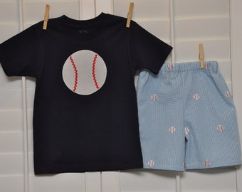 Boys Baseball Seersucker Outfit Maddie Kate Boutique custom size 12m-4T