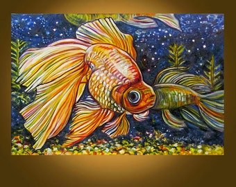 Art Painting -- Beautiful Goldfish -- 20 x 30 inch oil painting by Elizabeth Graf - LOOKS INCREDIBLE in real life!