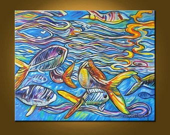 Crayola Fish -- 22 x 28 inch Original Oil Painting by Elizabeth Graf on Etsy, Art Painting, Art & Collectibles