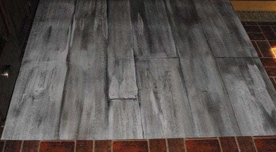 Items Similar To Rustic Aged Faux Wood Look Floorcloth