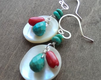 Turquoise and coral sterling silver earrings - river shell earrings with turquoise and coral - Native American earrings