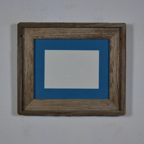 8x10 frame from reclaimed wood with 5x7  aruba blue mat