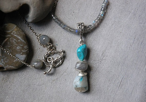 Peruvian Opal Pendant - Turquoise, sky blue, beach, blue, beach inspired necklace