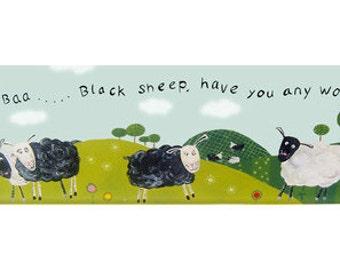 Baa Baa Black Sheep Canvas / Children's Art /  Nursery Rhyme Picture - Baby Nursery Decor