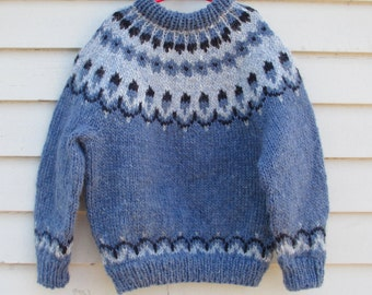 Childrens Icelandic Sweater, handmade wool, blue colorway, childs size 8 10