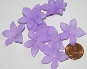 30 pcs of Frosted Acrylic  flower beads 27mm  Purple