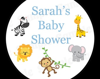"20 Personalized Round Stickers - Zoo Animals Baby Shower - Blue - 2"" Inches"
